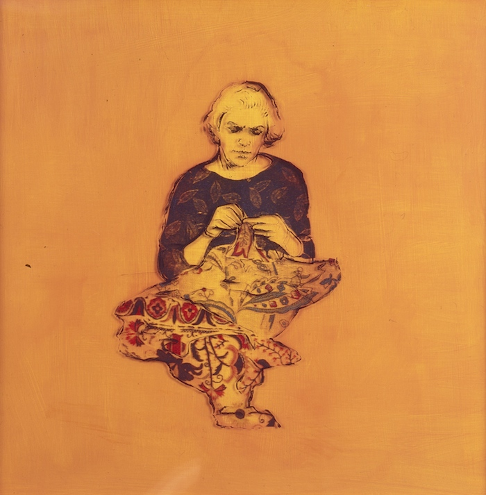 New Material 2 - Ball Gown 1995, print transfer on acrylic sheeet with acrylic paint on board, 60 x 60cm. Private Collection