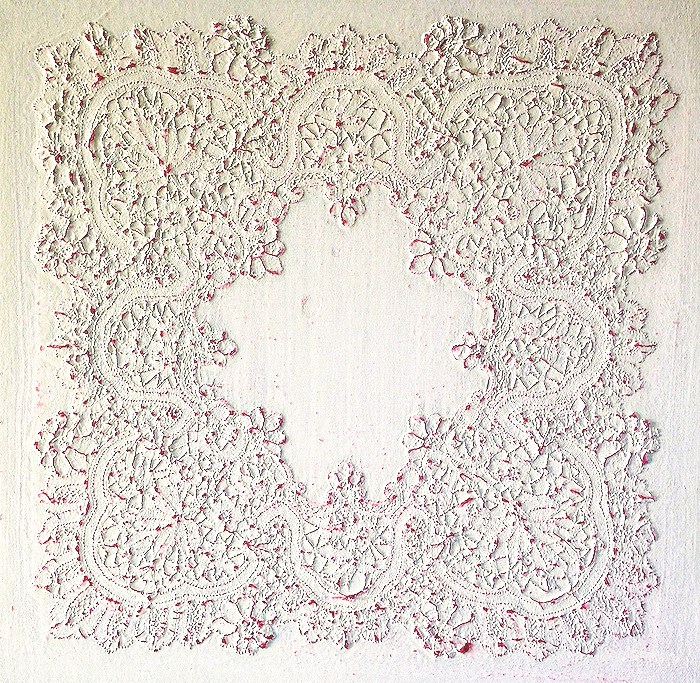 Eveline Kotai - Inheritance, 2015, hand made lace handkerchief + bio-paint on linen, 60x60cm, collection of artist