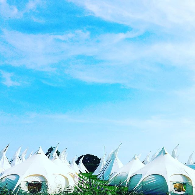 We're super excited to be providing luxury glamping accom at #glasto this year! Our Love Lotus's are looking lush against the bright blue sky and readyyyyyy for fun! Have a super wkend everyone #glastonbury2017 #glastonbury #glamping #lovelotusbelle #lotusbelle