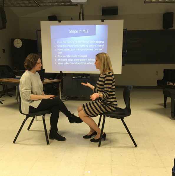 Here's a photo of me learning how to do Melodic Intonation Therapy (MIT); one of the first techniques I learned at Institute! This technique is used to rehabilitate those who have suffered a brain injury affecting their speech. Singing (paired with the rhythmic component of tapping your hand)is utilized to help those with Expressive Aphasia (those who have lost the ability to express speech after a brain injury) essentially re-learn how to speak again.