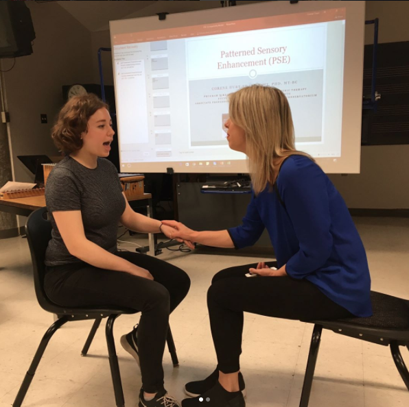 Here is photo of me learning another technique, Patterned Sensory Enhancement (PSE) with Corene Thaut, which addresses sensory and motor goals utilizing the rhythmic and spatial elements of movement.