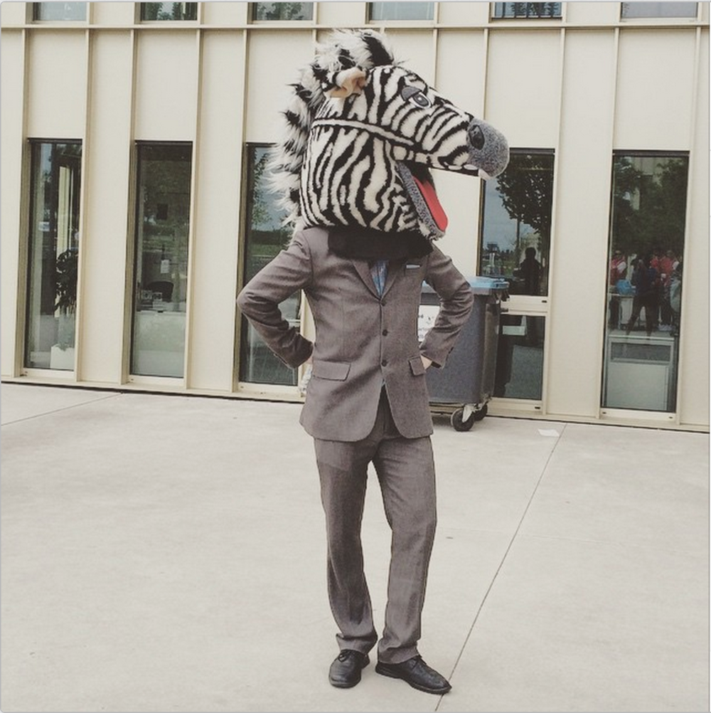 #12.  Keeping it classy at MBAT! The infamous Mr. Zebra prepping for the Casino Royale party... (via HECMBAT)