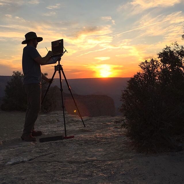 Painting the south rim of the Grand Canyon at sunset.