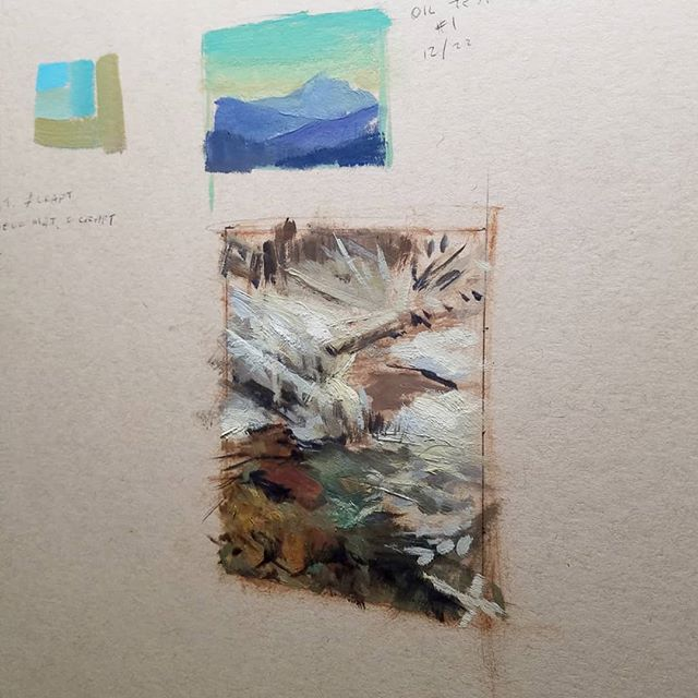 "Fun and helpful doing small thumbnail color studies. This one is tiny - 4"" and 3""ish. #sketchbook #oilpainting"