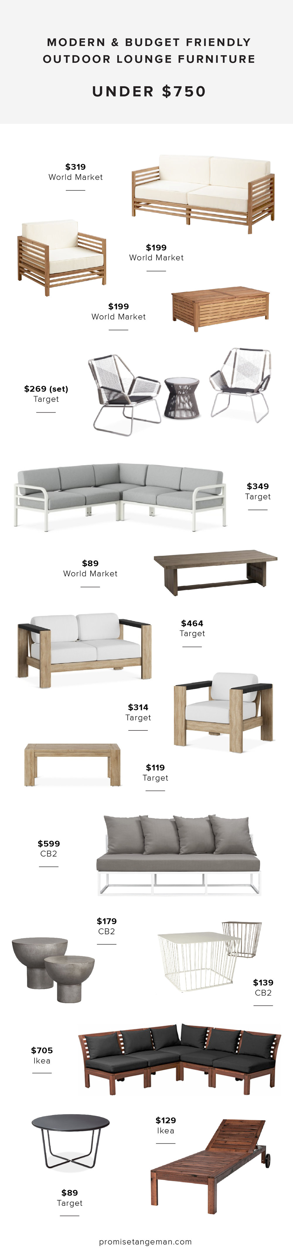 modern budget outdoor lounge furniture
