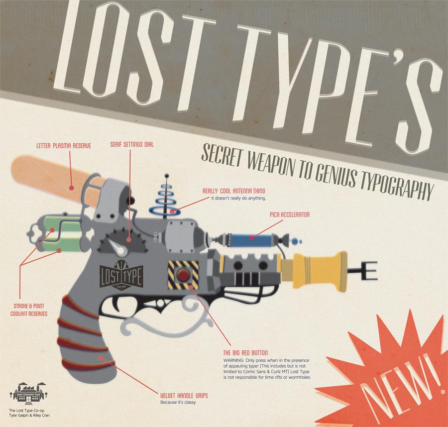 LostType Raygun Poster by Lauren Hodges