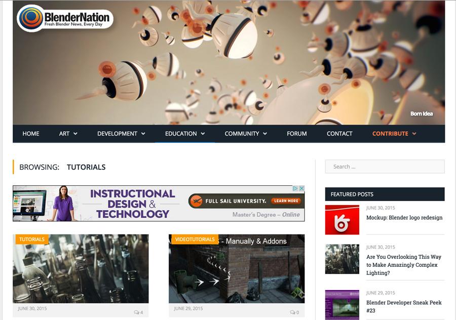 Screenshot of BlenderNation Homepage