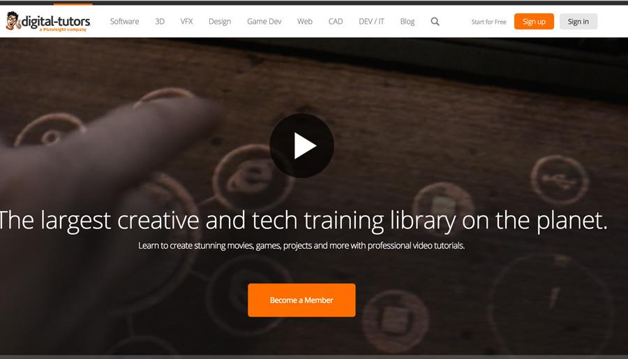Screenshot of Digital Tutors Homepage