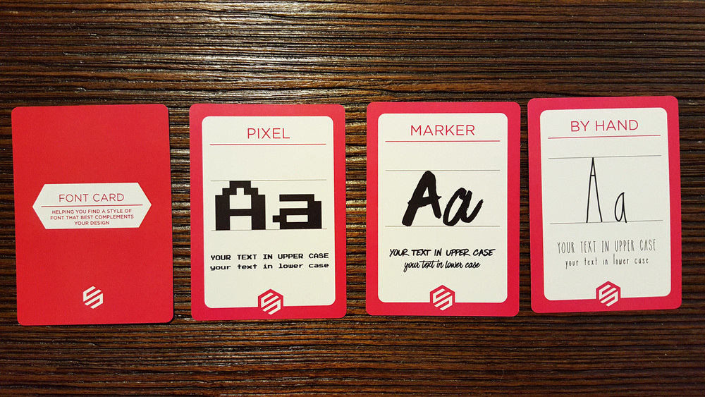 There are 10 font cards. Each card shows an example of a font style in uppercase and lowercase depictions.