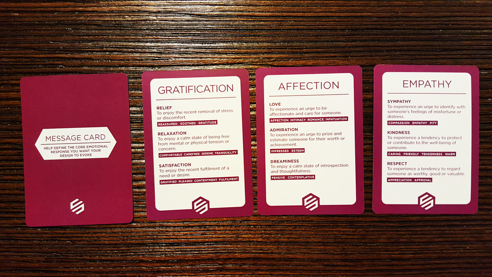 There are 9 message cards. Each card depicts an emotion/message with synonyms for each of those words and a description of what those words mean.