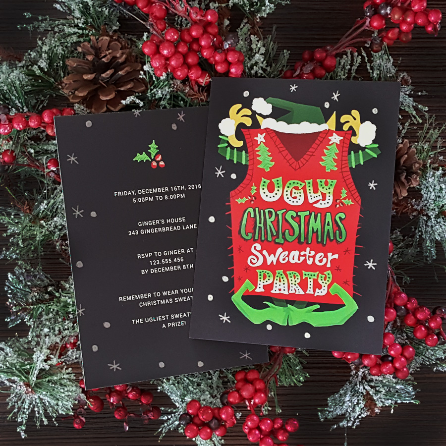 Custom Ugly Christmas Sweater Invitations by Lauren Hodges