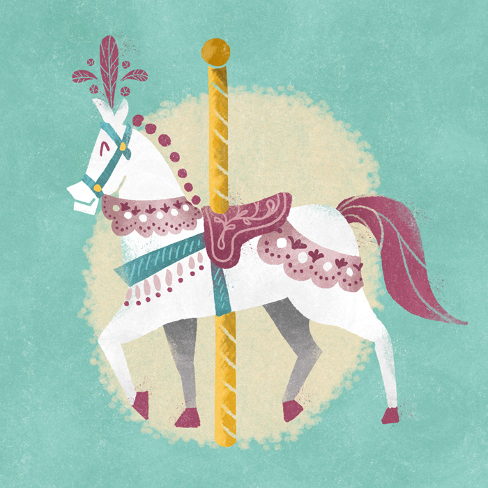 Carousel Horse Illustration by Lauren Hodges. Illustrated entirely with the Carousel Photoshop Brush Collection.