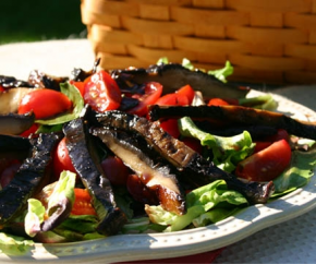 Grilled portobello over salad                                            www.simplefoodie.com