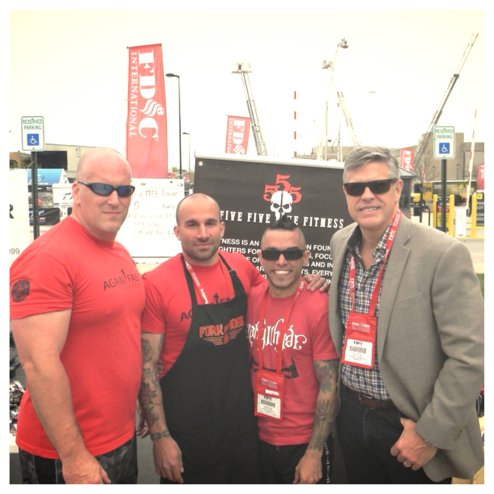 LARRY AND PIP FROM 555 FITNESS WITH MYSELF AND JOHN, THE FOUNDER OF THE FIREFIGHTER THROWDOWN