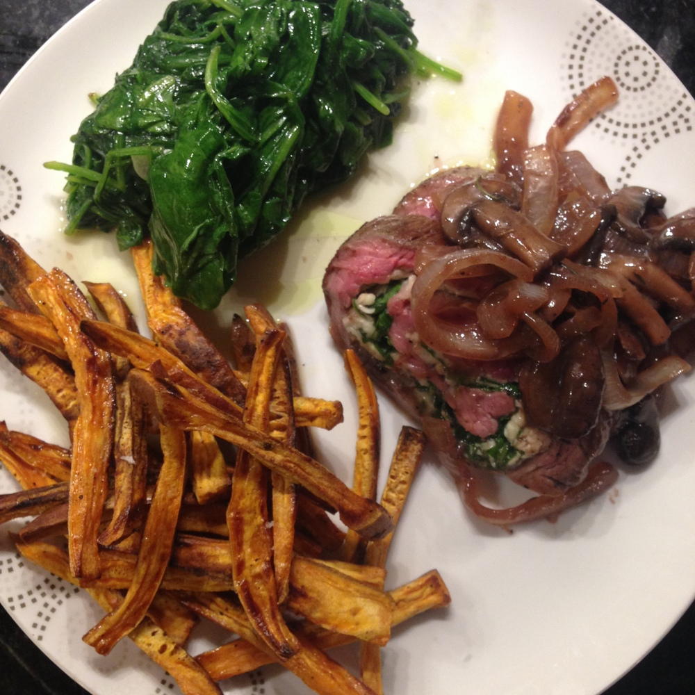 Steak rollups with sweet potato fries and spinach....a perfect meal!