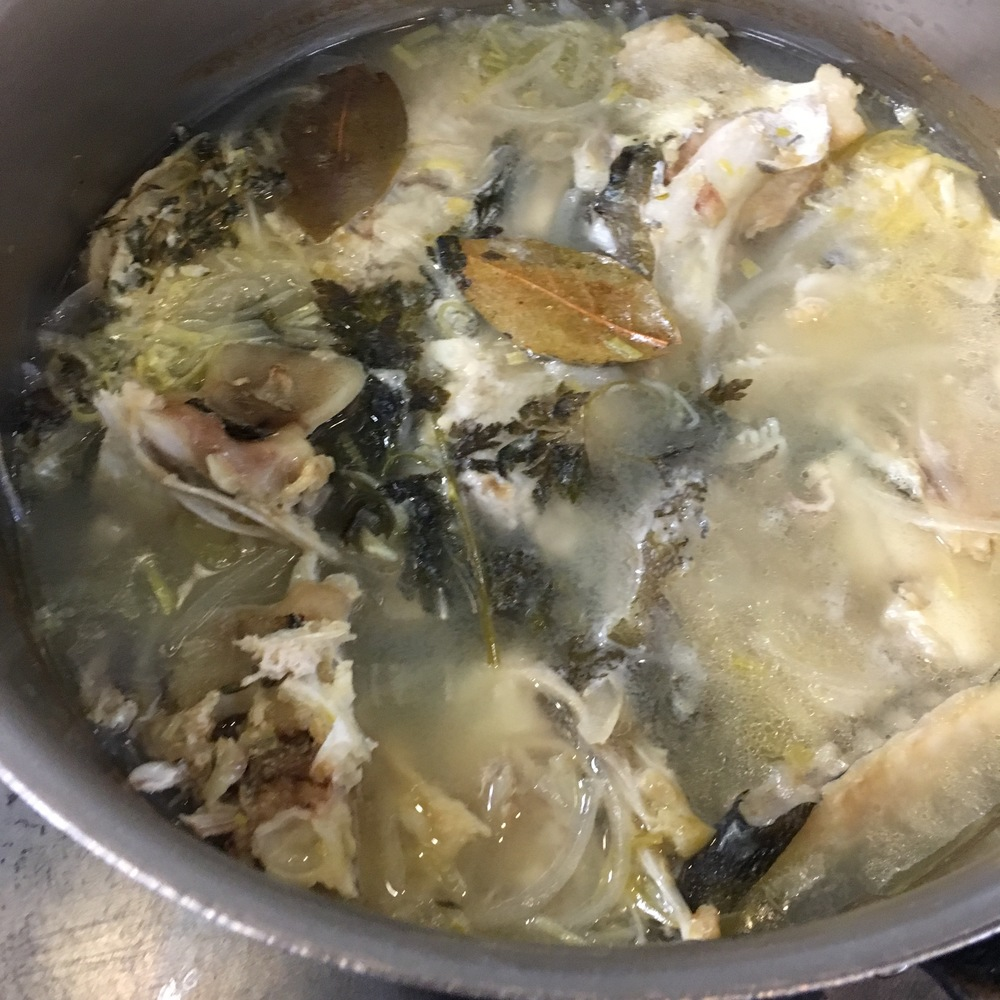 FISH FUMET, A.K.A FISH STOCK.  WE USE WHITE, MILD FISH BONES SUCH AS COD.  FATTIER FISH SUCH AS SALMON LEND TOO STRONG OF A FLAVOR.