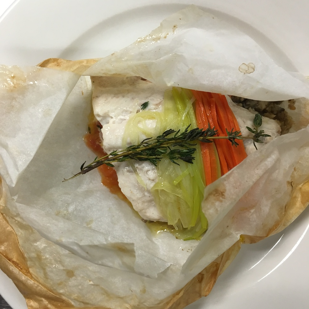 "FISH COOKED IN PARCHMENT PAPER, ALSO KNOWN AS ""POISSON EN PAPILLOTES"""