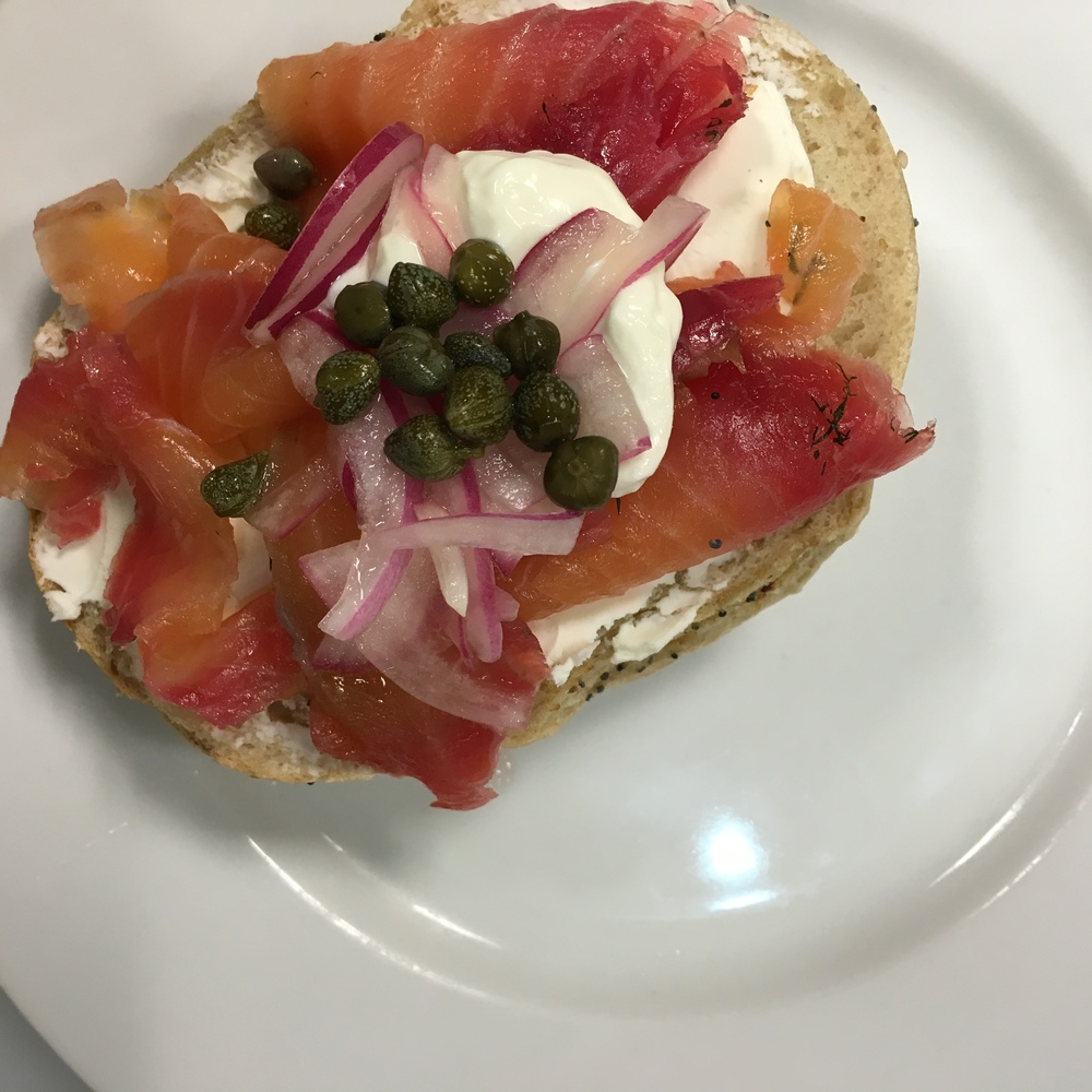 THE GRAVLAX WAS FANTASTIC ON TOP OF SOME BAGELS THAT A FELLOW STUDENT BROUGHT IN FROM HIS BAGEL SHOP IN HOBOKEN CALLED O'BAGELS!