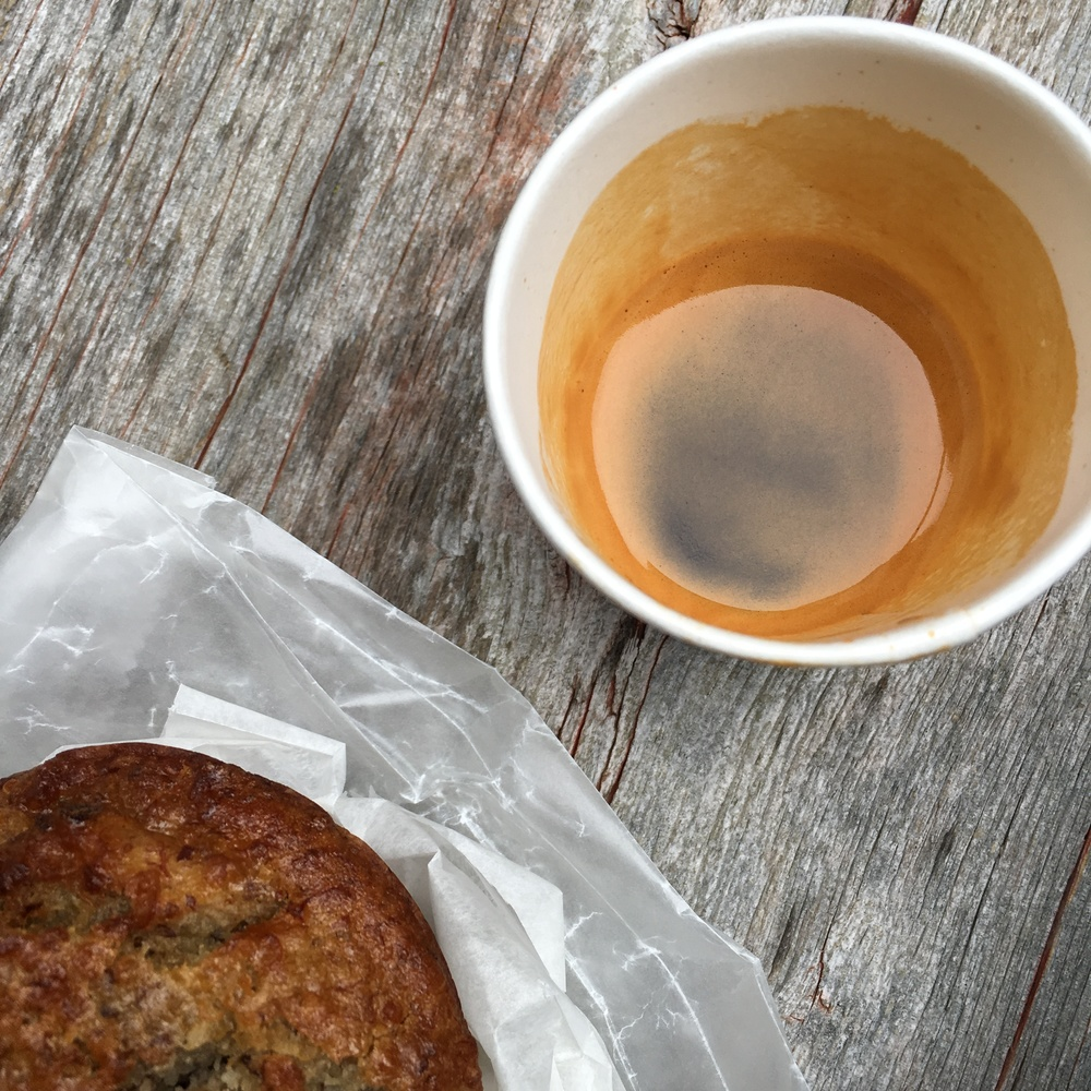 Espresso and a banana quinoa muffin from a local cafe.  One of my go-to meals right before class.