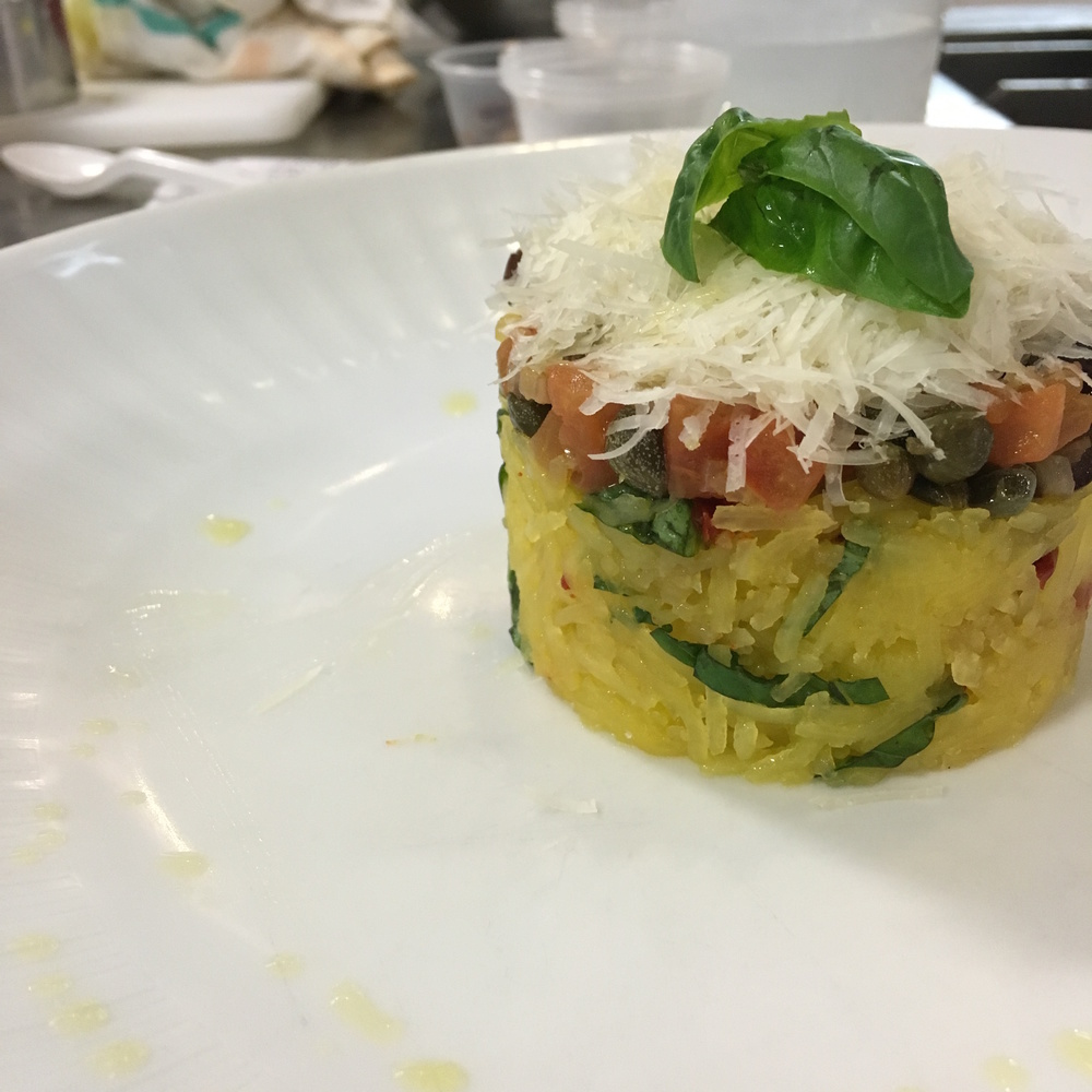 I LOVE SPAGHETTI SQUASH!!  WHEN I AM IN THE MOOD FOR PASTA BUT DO NOT WANT THE CARBS, I TURN TO THIS DELICIOUS GOURD!  THE ADDITION OF CAPERS TO THIS DISH ADDED THE PERFECT AMOUNT OF SALTY BRINY DELICIOUSNESS!