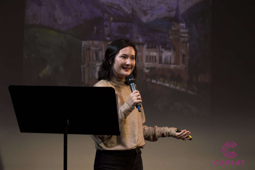 Telling a story about Na Hye-sok at Caveat in November 2018.