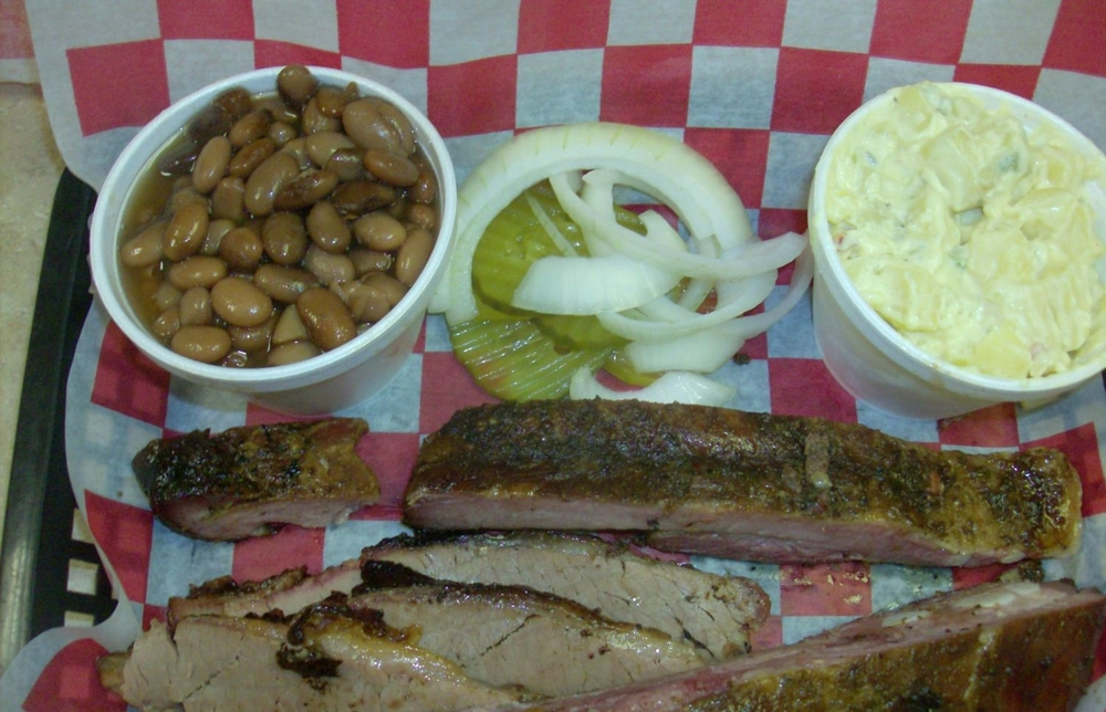 Bar-B-Que Plate (two meat: Brisket and Ribs) with pinto beans and potato salad