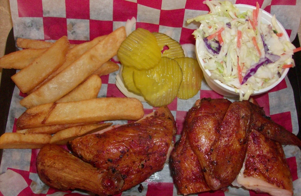 Bar-B-Plate (two meat: Chicken) with fries and coleslaw