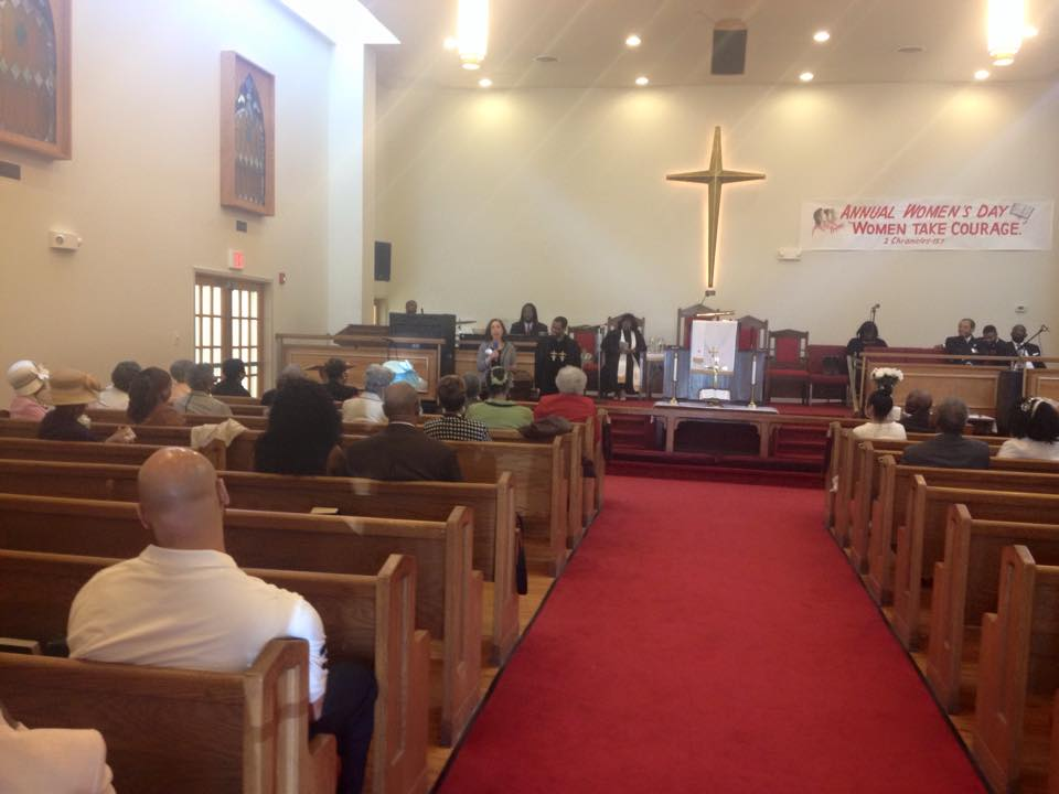 Betsy shares her message with parishioners at St. Paul's AME Church