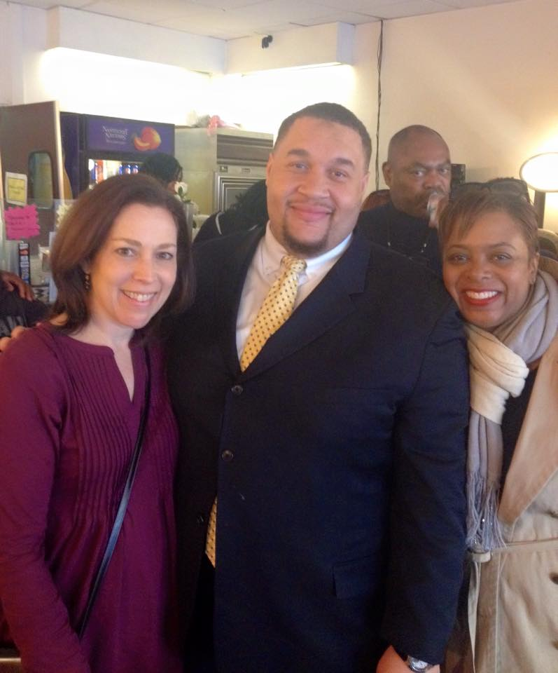 Betsy with Omar Sabir, candidate for city commissioner, and city councilwoman Cindy Bass at Omar's Fish Fry.