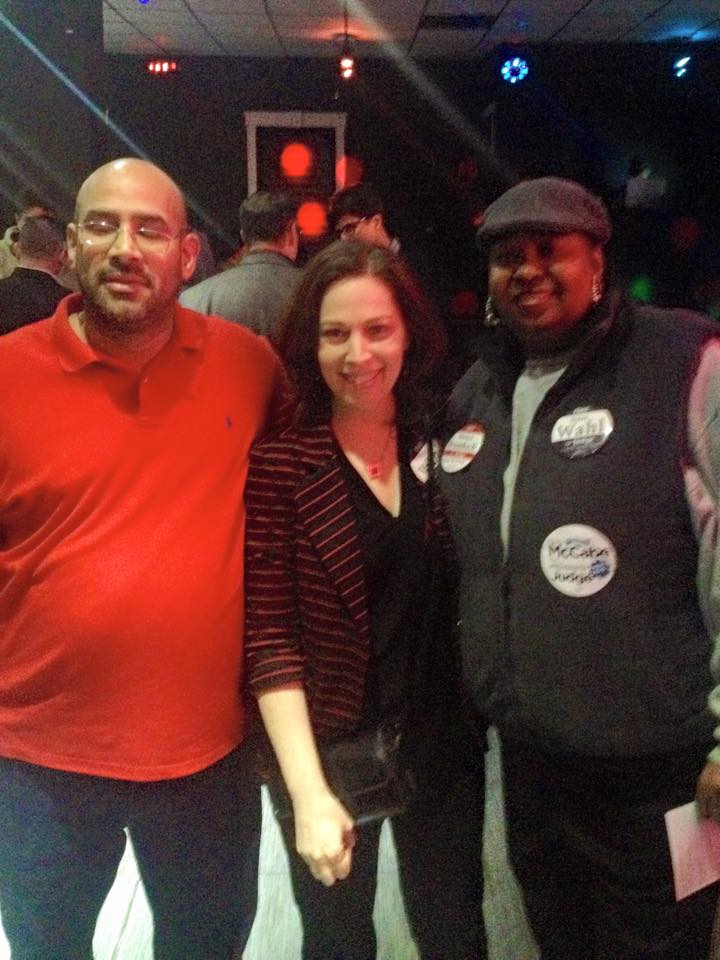 At a 43rd ward fundraiser with ward leader Emilio Vazquez and a 43rd ward committeewoman.