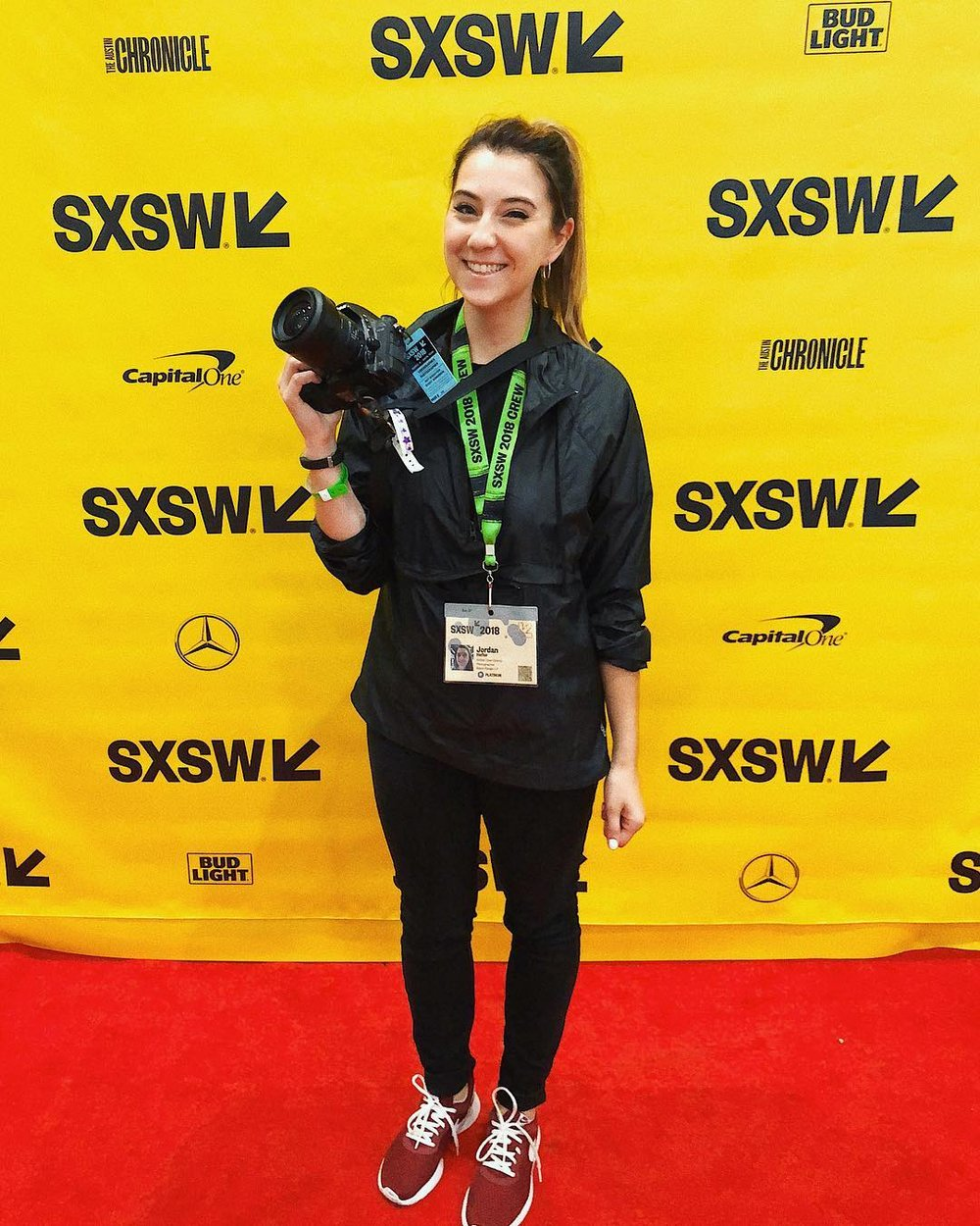 This lightweight Reebok windbreaker was perfect to throw in my bag and wear when photographing all week at SXSW!