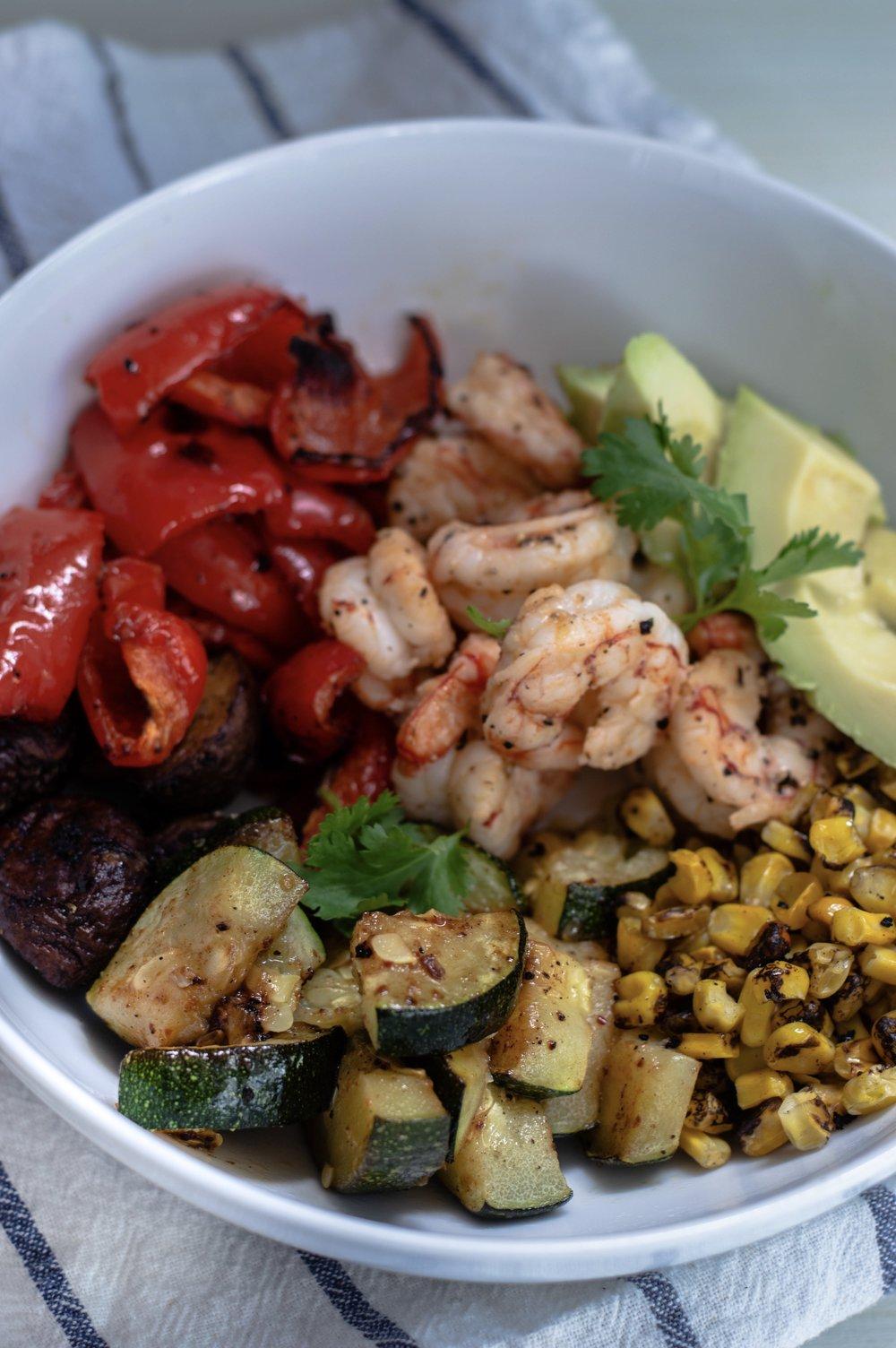 Grilled Veggie Shrimp Bowl