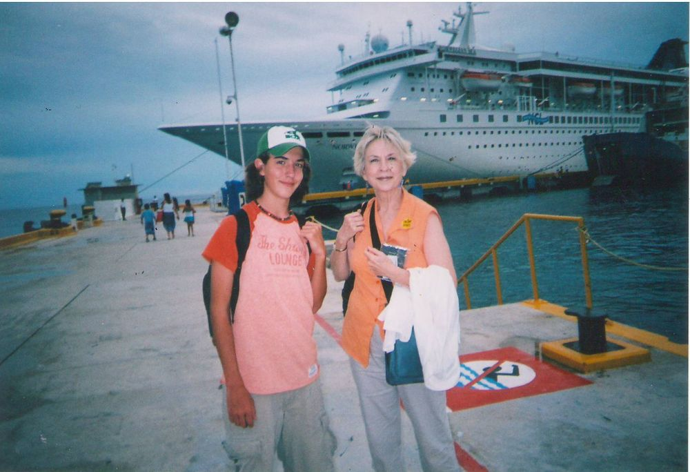Jan Seale and grandson, Luca, at Mexican port.
