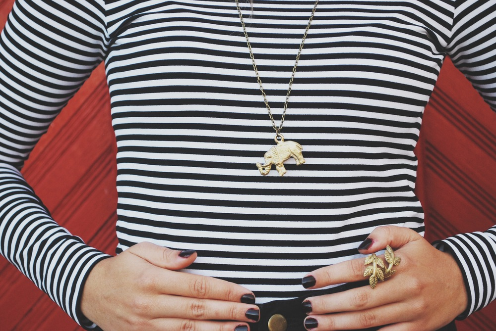 I'm wearing the Elephant Pendant Necklace & the New Beginnings Leaf Ring.