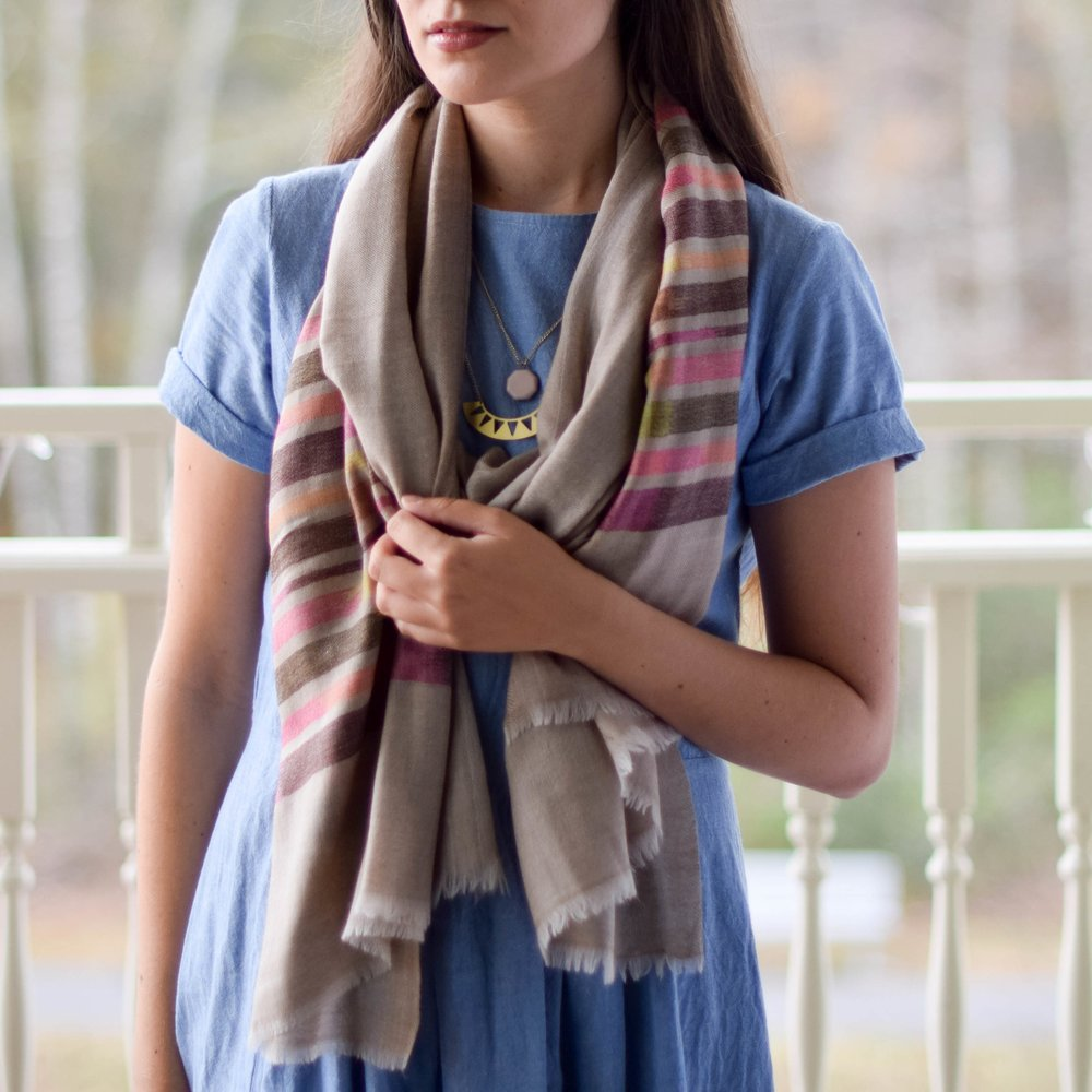 Ikat Natural Fine Wool Scarf  ,  Bloom & Give  $80  {use code sustainablychic for $15 off your purchase of $50 or more}