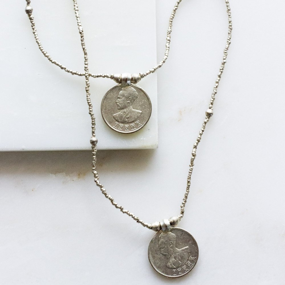 Double Coin Silver Necklace, MyFight $40 {20% off with code SUSTAINABLYCHIC20}