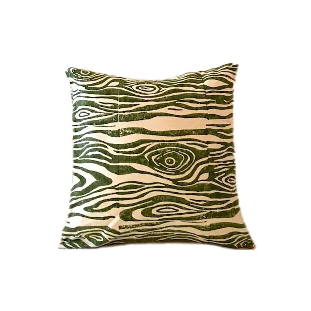 Green Faux Bois Pillow, Beastly Threads $70
