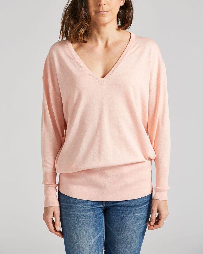 Silk Cotton V-Neck Jumper  {$120}