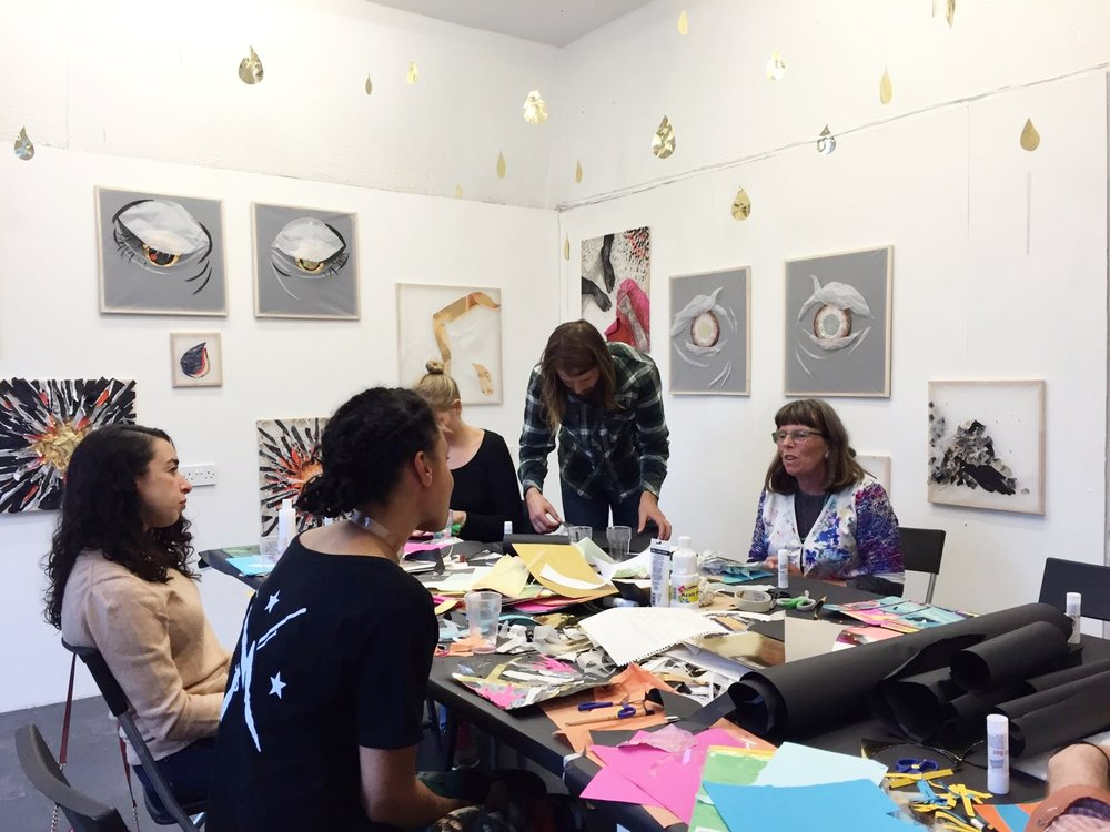 Collage workshop and discussion.