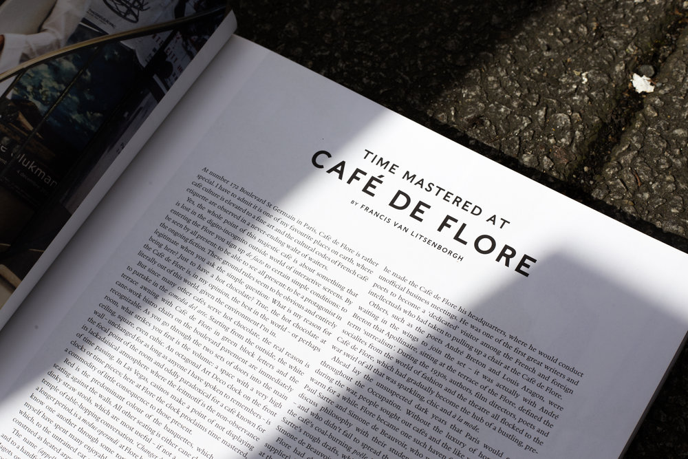 Luncheon magazine, Spring/Summer 2017. The iconic hotspot Café de Flore was named after a statue across the road and over its lifespan has houses both literary and fashion celebrities