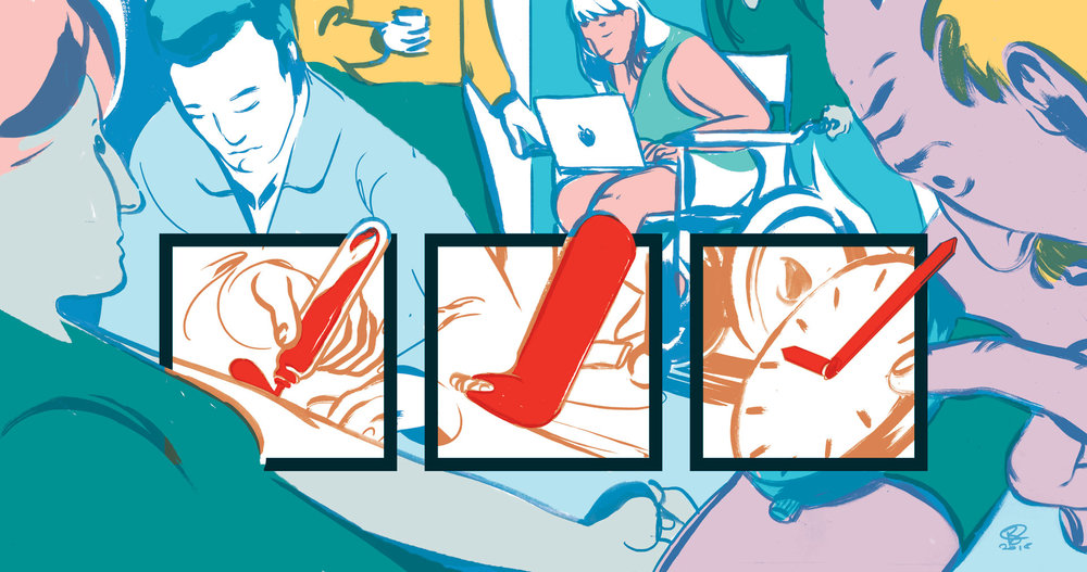 An inset illustration for an article on patient surveys in the NHS.