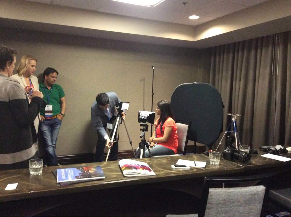 setting up for demo in the photography workshop