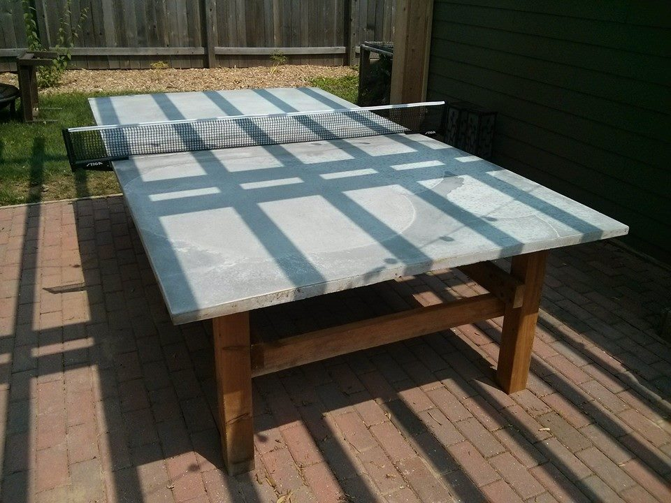 This Is The Table In Place On The Patio Under The Pergola. There Is A Bit  Of An Uneven Pattern To The Cement Caused By Mixing In Small And  Inconsistent ...