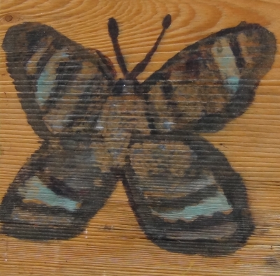"Butterfly, Age 6 , watercolor on wood, 6""x6"""