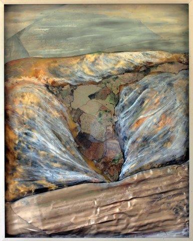 Weltanschauung 1 1978 Material: colored paraffin behind pvc foil, aluminum sheet, oxidized zinc sheet, plexiglass, window frame Measurements: 150 x 170cm