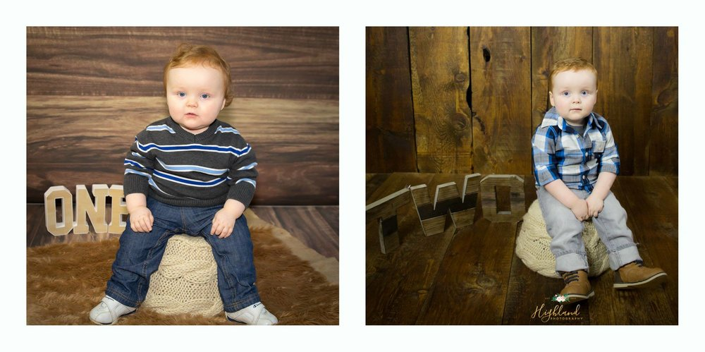 What a change between his 1st and 2nd birthday shoot.