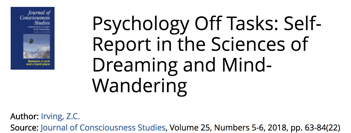 Study Wandering Pervasive Problem For >> Psychology Off Tasks Self Report In The Sciences Of Dreaming And
