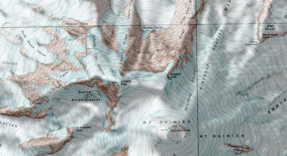 Topo map of Mt. Rainer in Washington