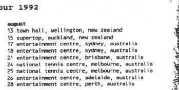 The Cure dates down under