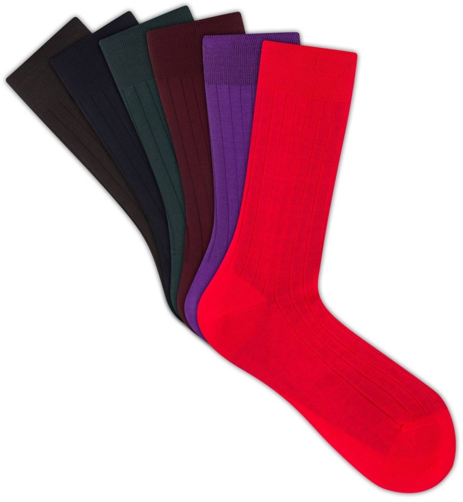 SOXIETY RIBBED RAINBOW COTTON LISLE ANKLE LENGTH PACK OF SIX PRICE: £40.00